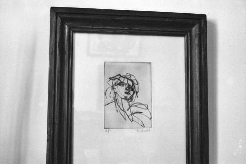 Gravure de Judicaël d'après le Saint Jean du Titien à la Salute. À la maison, Paris.